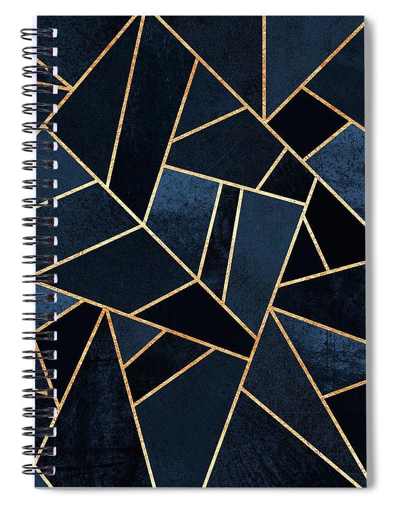 Digita Spiral Notebook featuring the digital art Navy Stone by Elisabeth Fredriksson