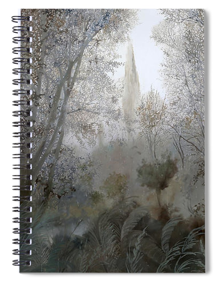 Wood Spiral Notebook featuring the painting Nebbia Nel Bosco by Guido Borelli
