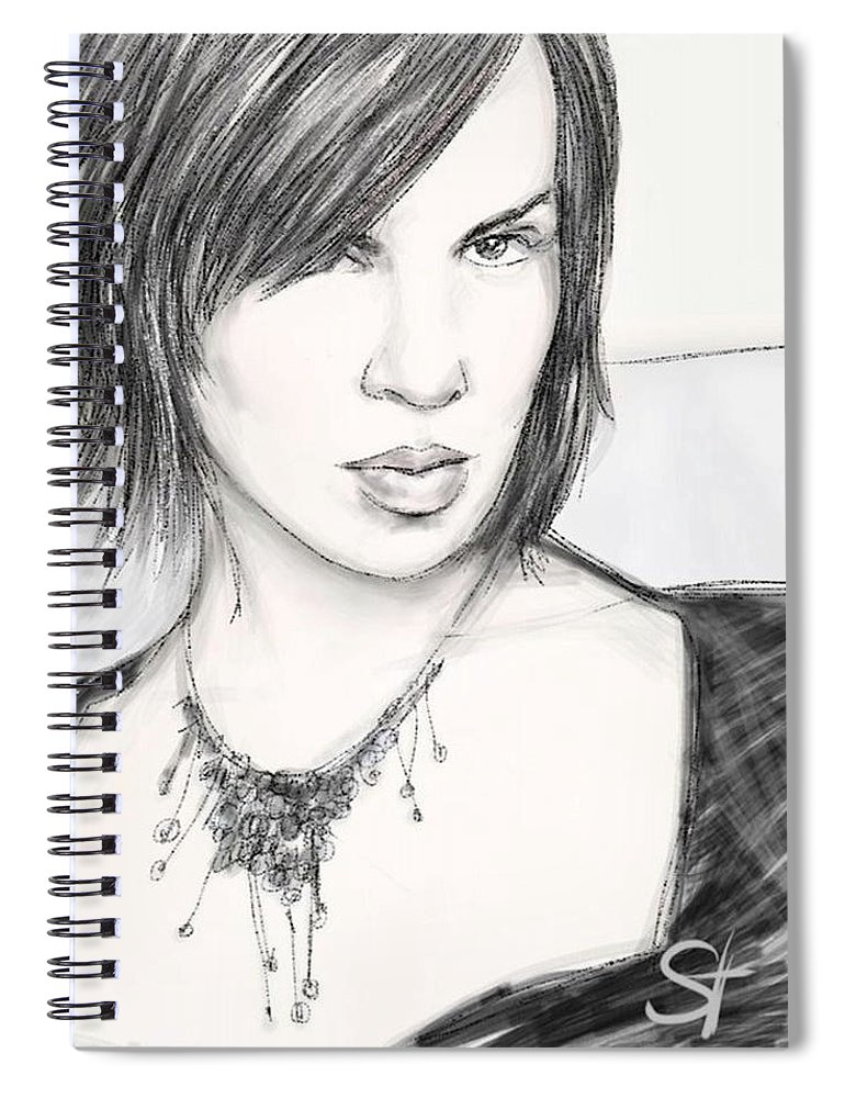 Portrait Spiral Notebook featuring the digital art Necklace by Scott Waters