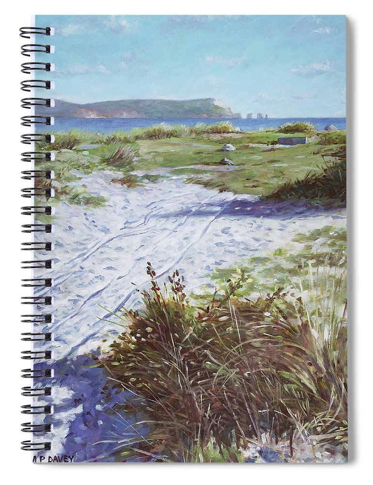 Solent Spiral Notebook featuring the painting Needles From Hengistbury Head by Martin Davey