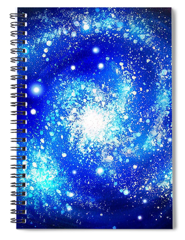 Blue Spiral Notebook Featuring The Painting Neon Galaxy Bright Stars By Sofia Metal