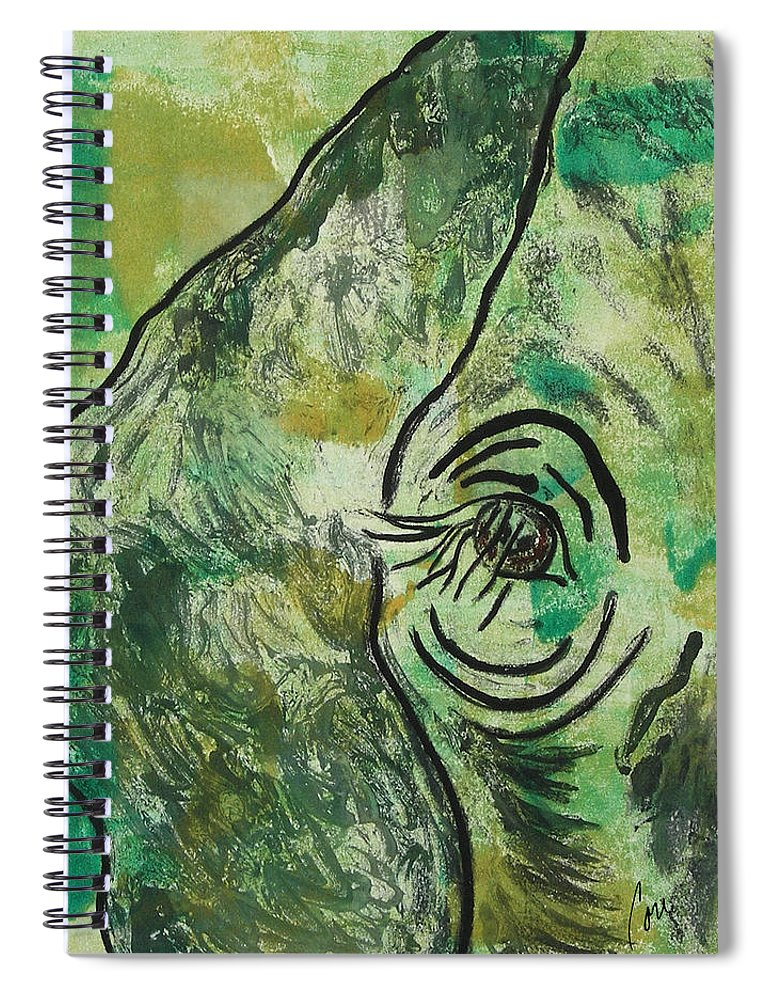 Monotype Spiral Notebook featuring the mixed media Never Forgotten by Cori Solomon