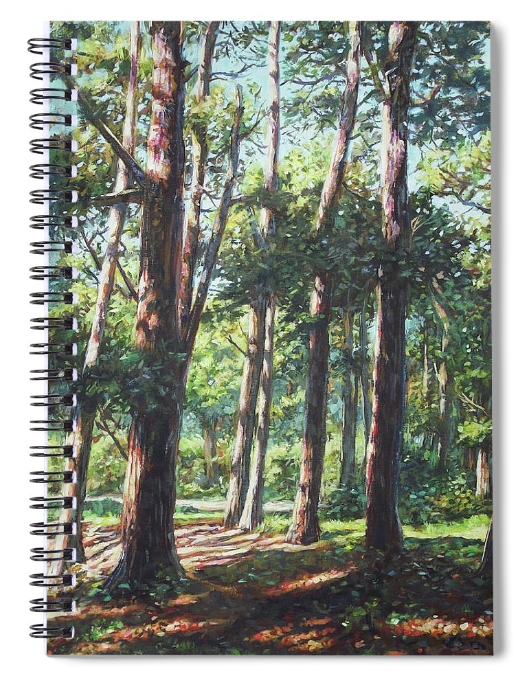 Trees Spiral Notebook featuring the painting New Forest Trees With Shadows by Martin Davey