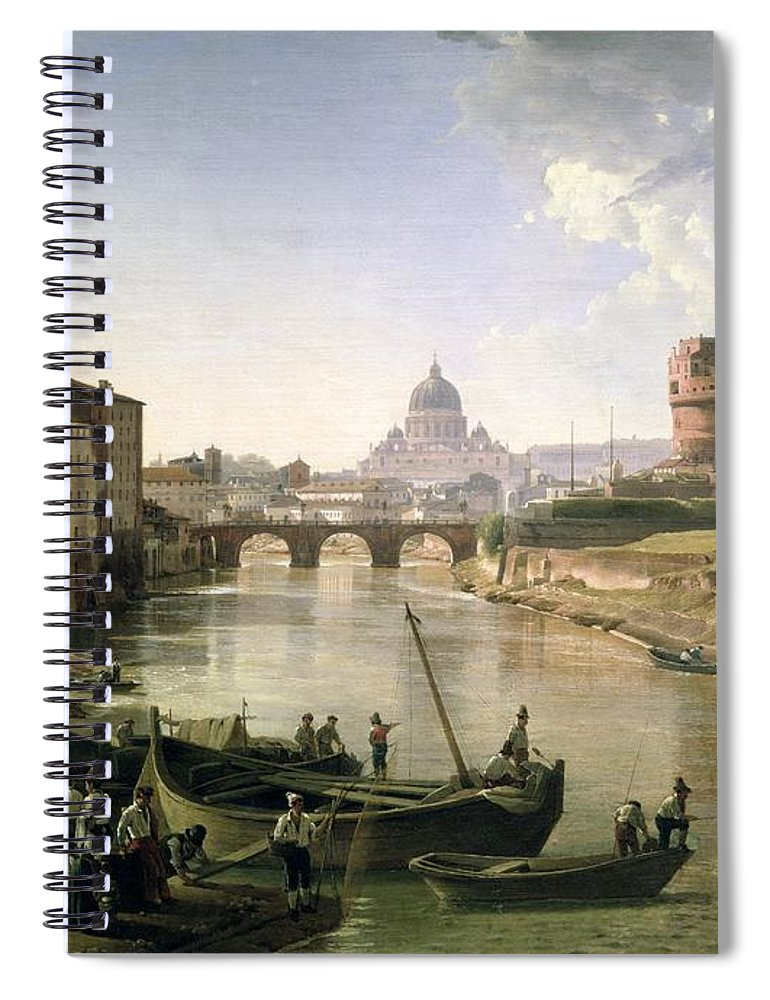 River Tiber Spiral Notebook featuring the painting New Rome With The Castel Sant Angelo by Silvestr Fedosievich Shchedrin