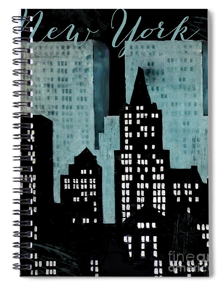 New York Spiral Notebook featuring the painting New York Art Deco by Mindy Sommers