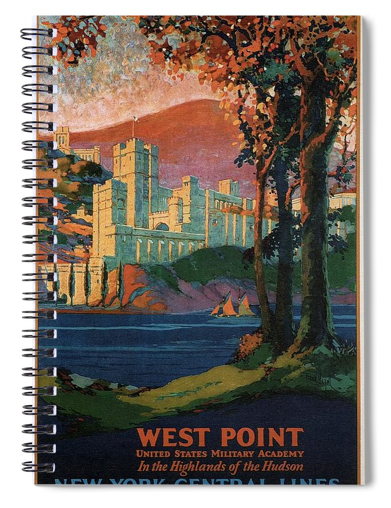 New York Spiral Notebook featuring the mixed media New York Central Lines - West Point - Retro Travel Poster - Vintage Poster by Studio Grafiikka