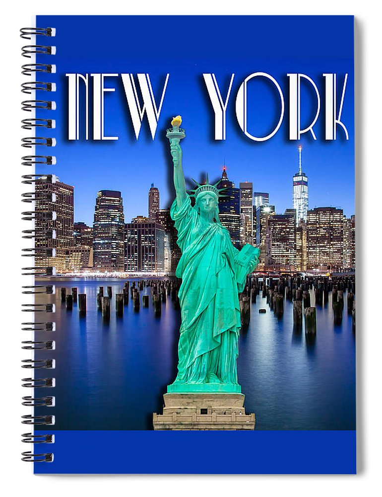 World Trade Center Spiral Notebook featuring the photograph New York Classic Skyline With Statue Of Liberty by Az Jackson