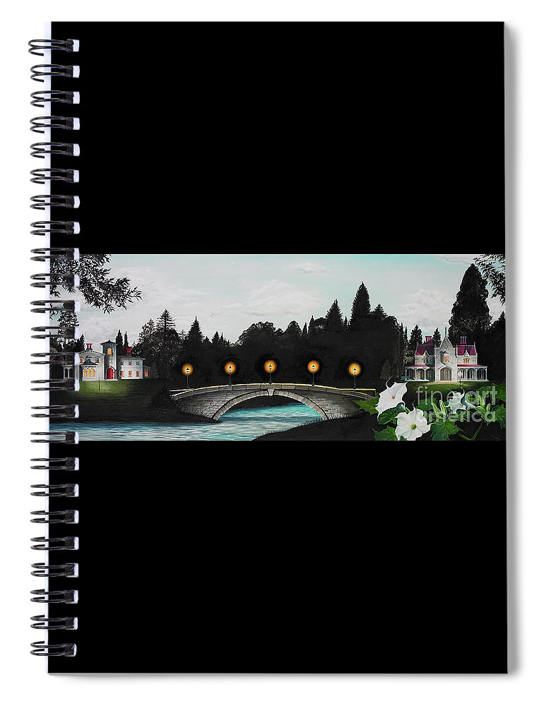 Architecture Spiral Notebook featuring the painting Night Bridge by Melissa A Benson