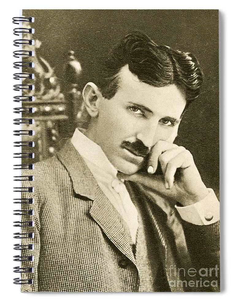 Science Spiral Notebook featuring the photograph Nikola Tesla, Serbian-american Inventor by Photo Researchers