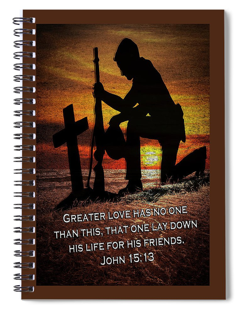 Veteran Spiral Notebook featuring the digital art No Greater Love by Carolyn Marshall