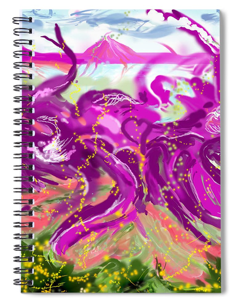 Abstract   Imaginary Seascape Purple Spiral Notebook featuring the digital art No LSD Involved by Suzanne Udell Levinger