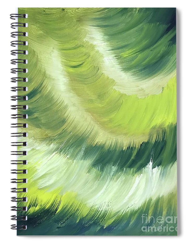 Abstract Spiral Notebook featuring the painting No Strings Attached by Sheila Mashaw
