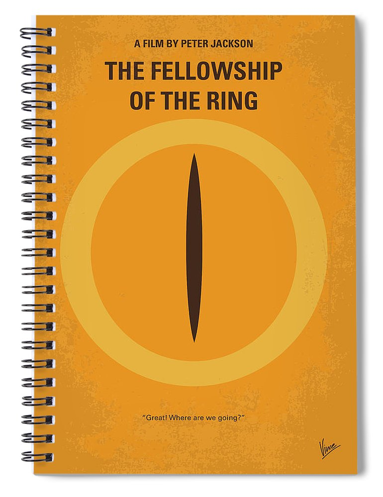 Lord Spiral Notebook featuring the digital art No039-1 My Lotr 1 Minimal Movie Poster by Chungkong Art