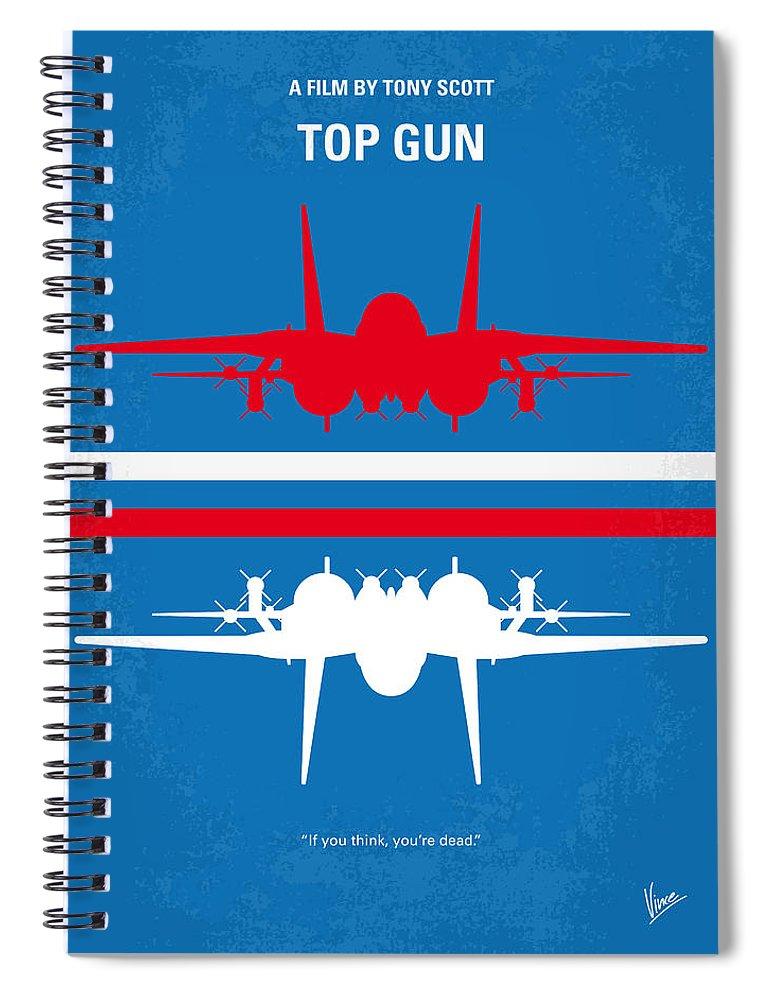 Top Spiral Notebook featuring the digital art No128 My TOP GUN minimal movie poster by Chungkong Art