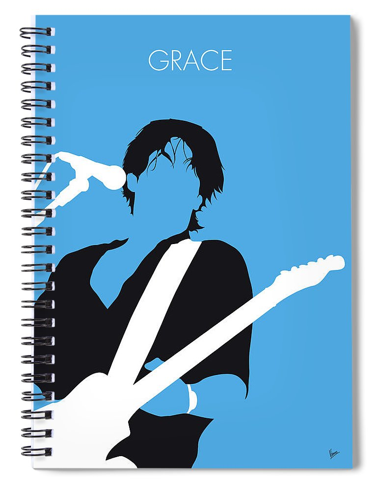 Jeff Spiral Notebook featuring the digital art No129 My Jeff Buckley Minimal Music Poster by Chungkong Art