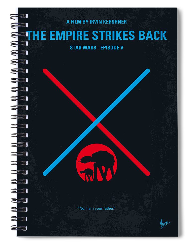 Star Spiral Notebook featuring the digital art No155 My STAR WARS Episode V The Empire Strikes Back minimal movie poster by Chungkong Art