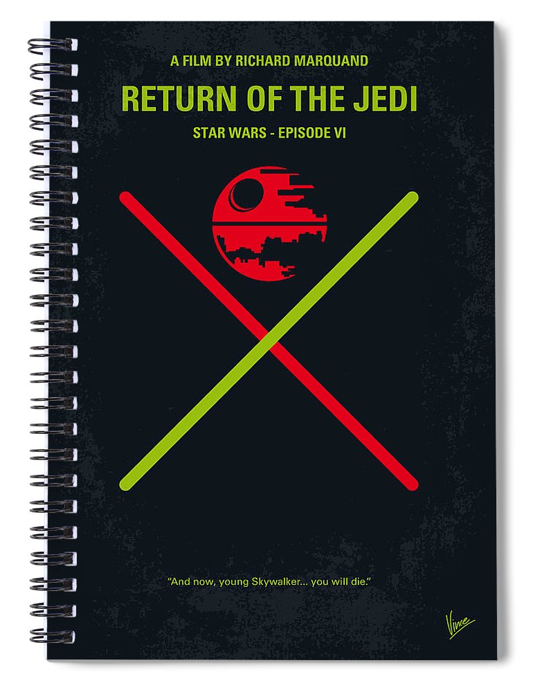 Star Spiral Notebook featuring the digital art No156 My STAR WARS Episode VI Return of the Jedi minimal movie poster by Chungkong Art