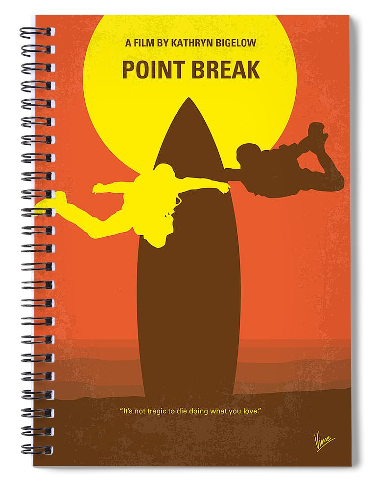 Point Spiral Notebook featuring the digital art No455 My Point Break Minimal Movie Poster by Chungkong Art