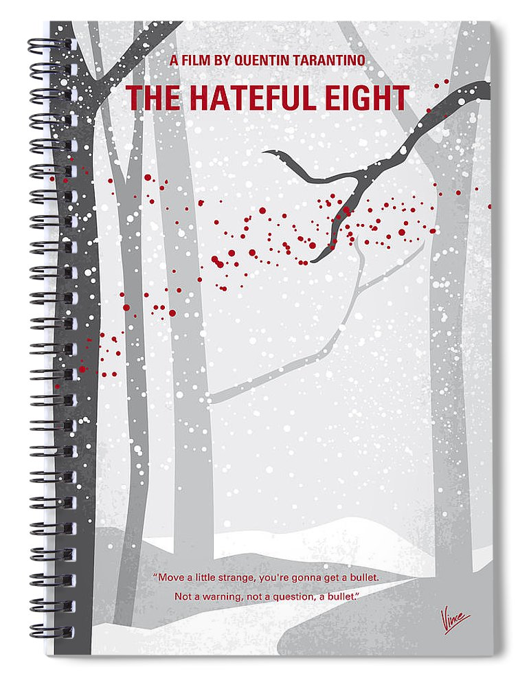 Hateful Spiral Notebook featuring the digital art No502 My Hateful Eight Minimal Movie Poster by Chungkong Art