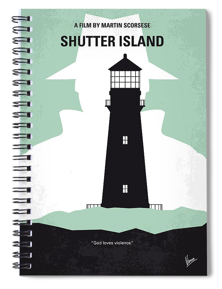 Shutter Spiral Notebook featuring the digital art No513 My Shutter Island Minimal Movie Poster by Chungkong Art