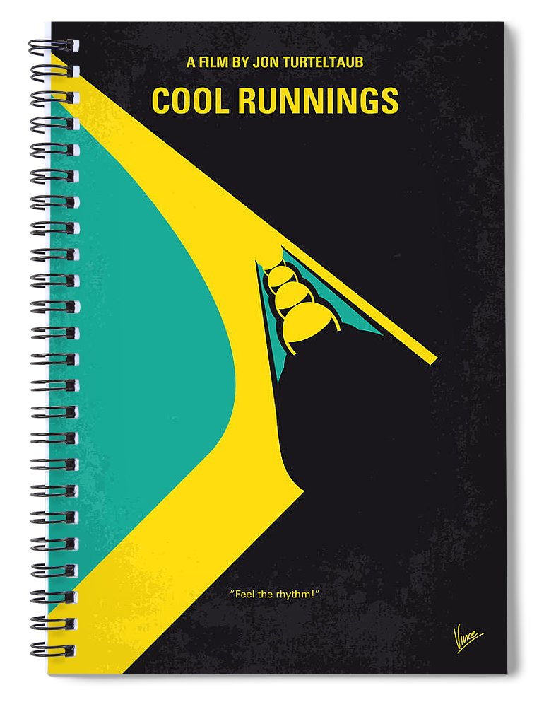 Cool Spiral Notebook featuring the digital art No538 My Cool Runnings Minimal Movie Poster by Chungkong Art