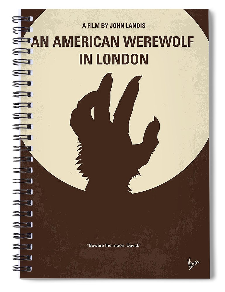 American Spiral Notebook featuring the digital art No593 My American Werewolf In London Minimal Movie Poster by Chungkong Art