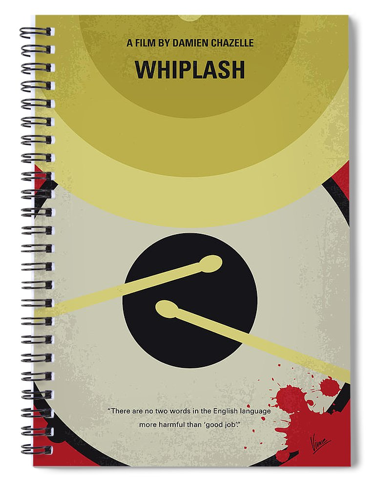 Whiplash Spiral Notebook featuring the digital art No761 My Whiplash Minimal Movie Poster by Chungkong Art