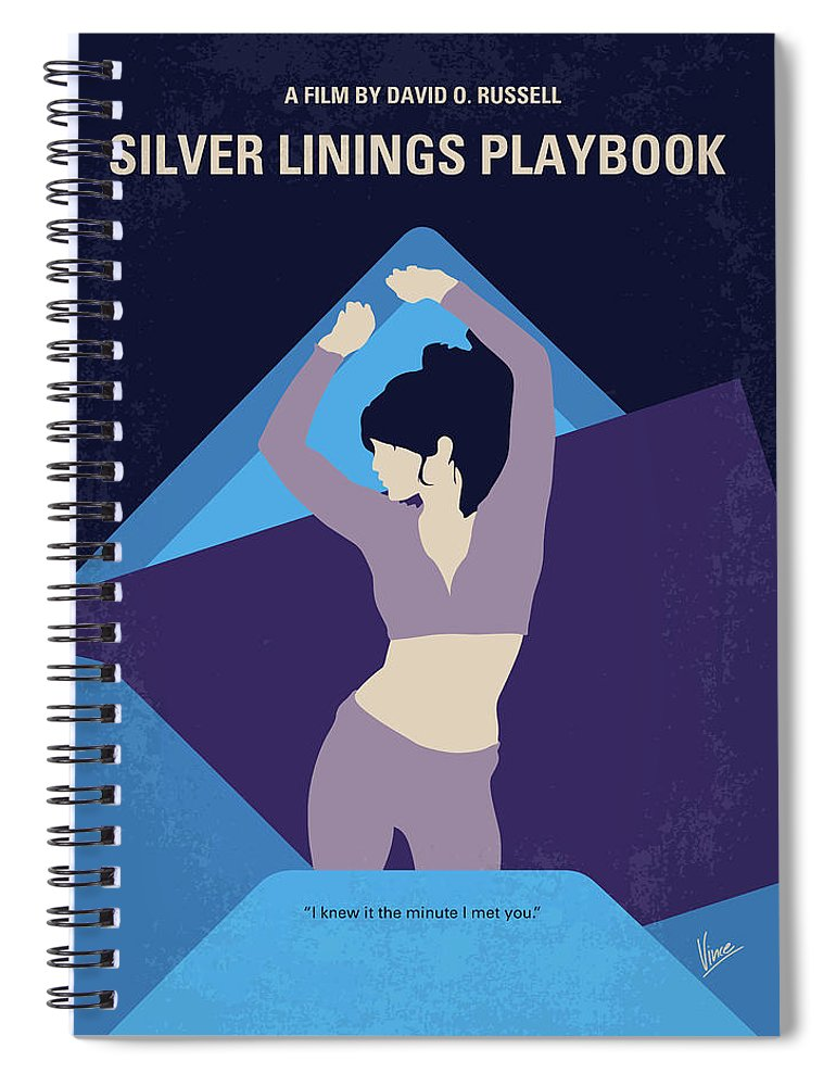 Silver Spiral Notebook featuring the digital art No832 My Silver Linings Playbook Minimal Movie Poster by Chungkong Art