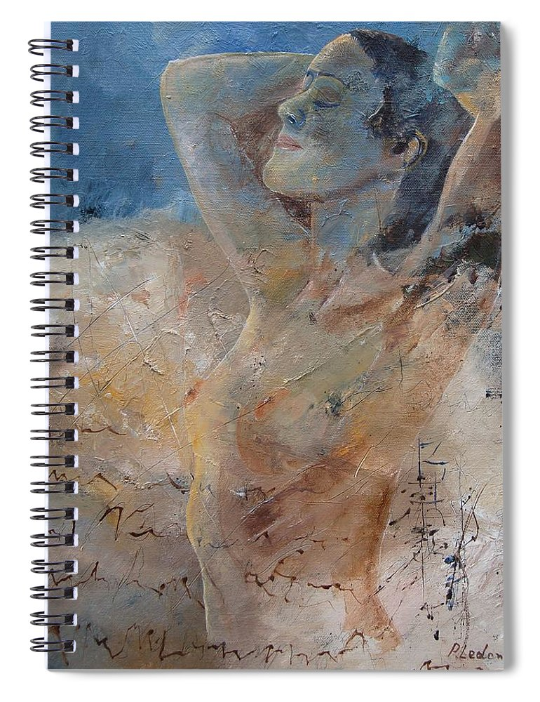 Nude Spiral Notebook featuring the painting Nude 0508 by Pol Ledent