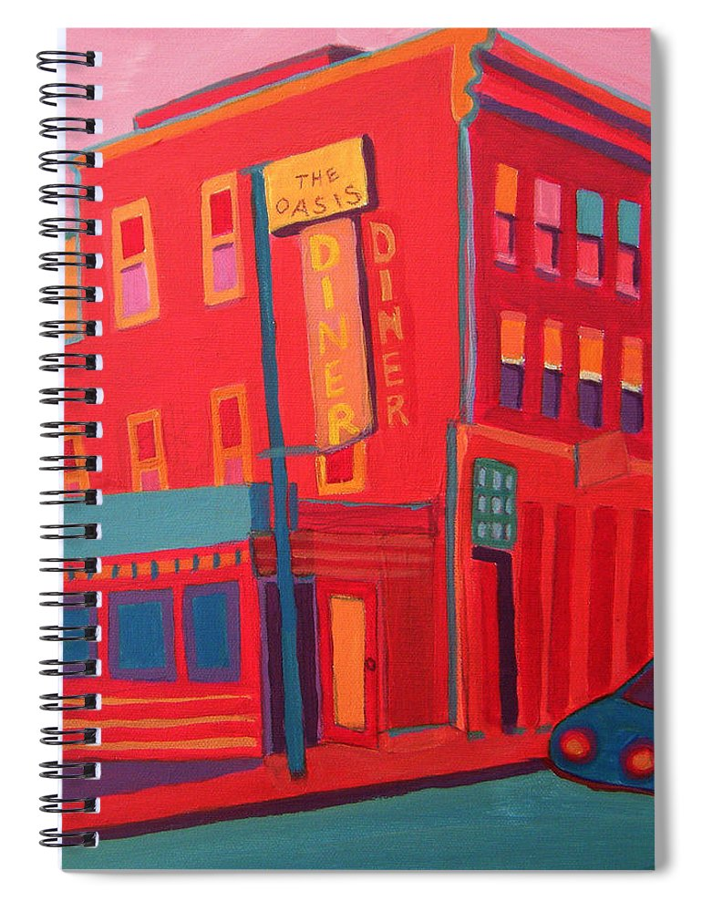 Diner Spiral Notebook featuring the painting Oasis Diner Burlington VT by Debra Bretton Robinson