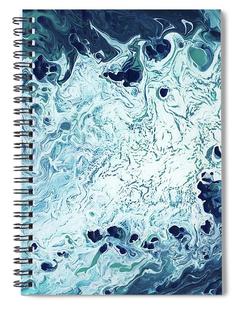 Blue Spiral Notebook featuring the mixed media Ocean- Abstract Art By Linda Woods by Linda Woods