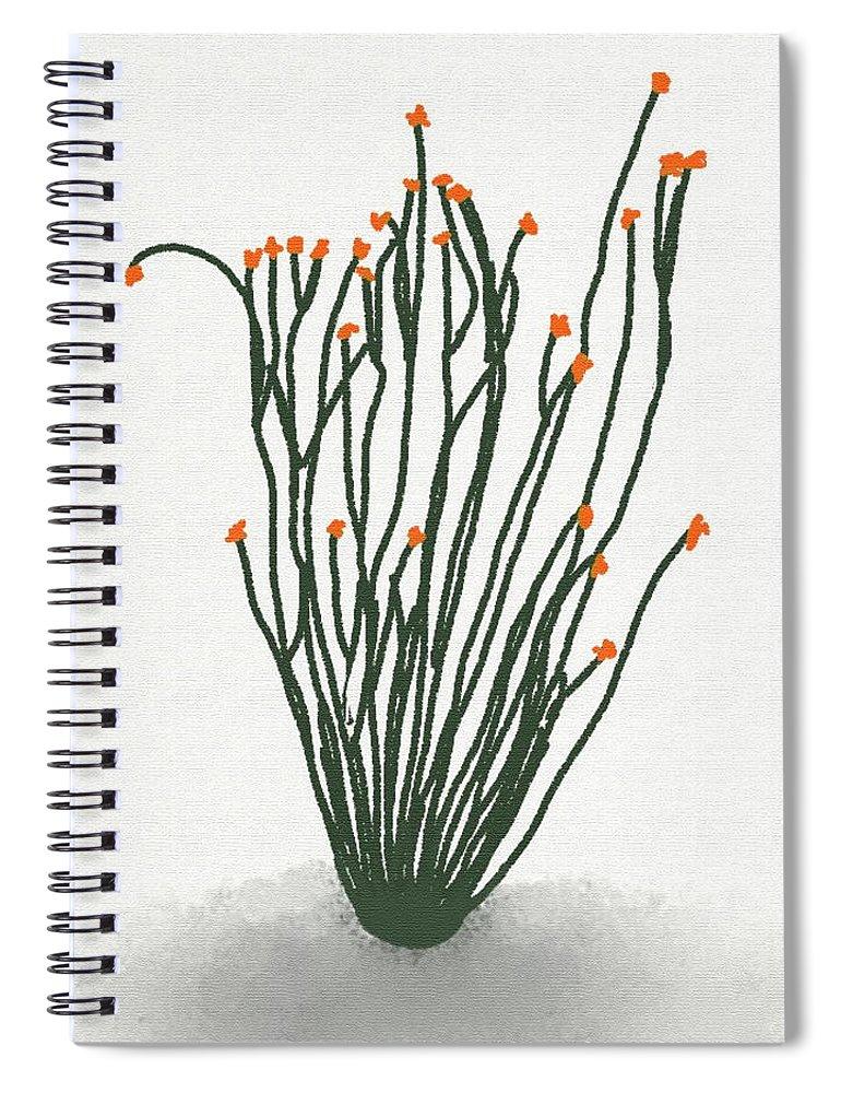 Ocotillo Spiral Notebook featuring the digital art Ocotillo by Priscilla Wolfe