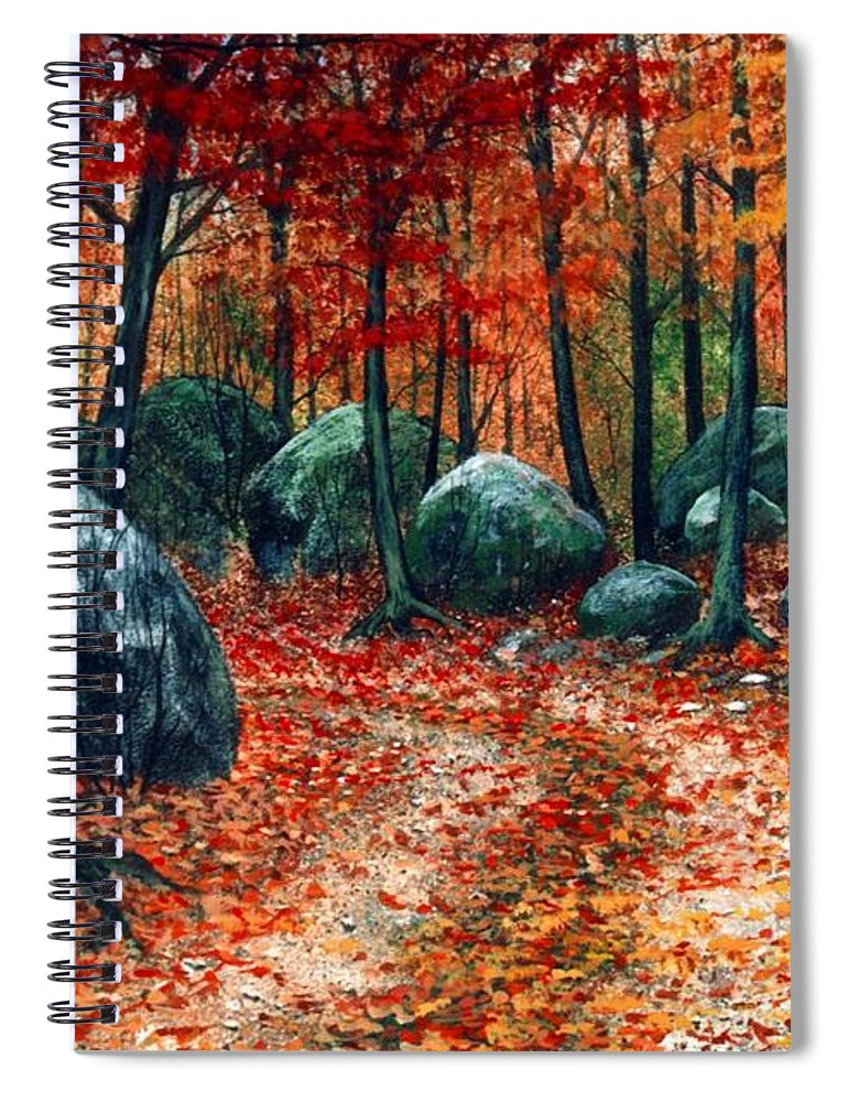 Landscape Spiral Notebook featuring the painting October Woodland by Frank Wilson