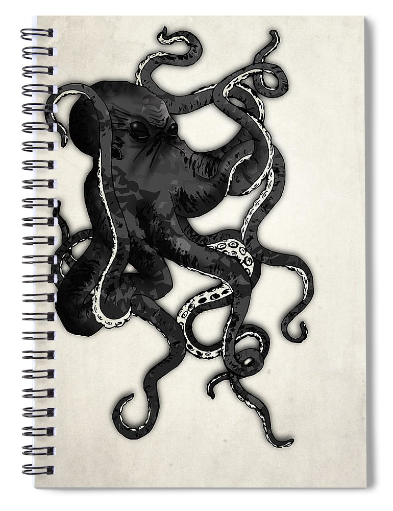 Sea Spiral Notebook featuring the digital art Octopus by Nicklas Gustafsson