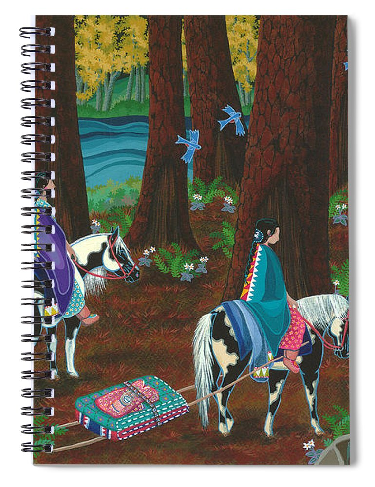 America Spiral Notebook featuring the painting Off to Visit Auntie by Chholing Taha