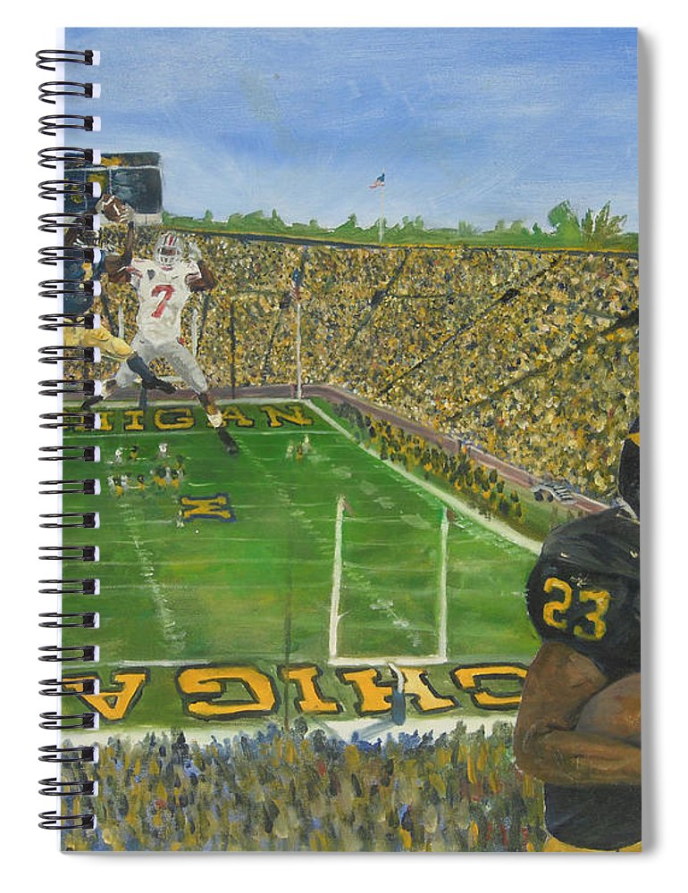 Michigan Spiral Notebook featuring the painting Ohio State vs. Michigan 100th Game by Travis Day