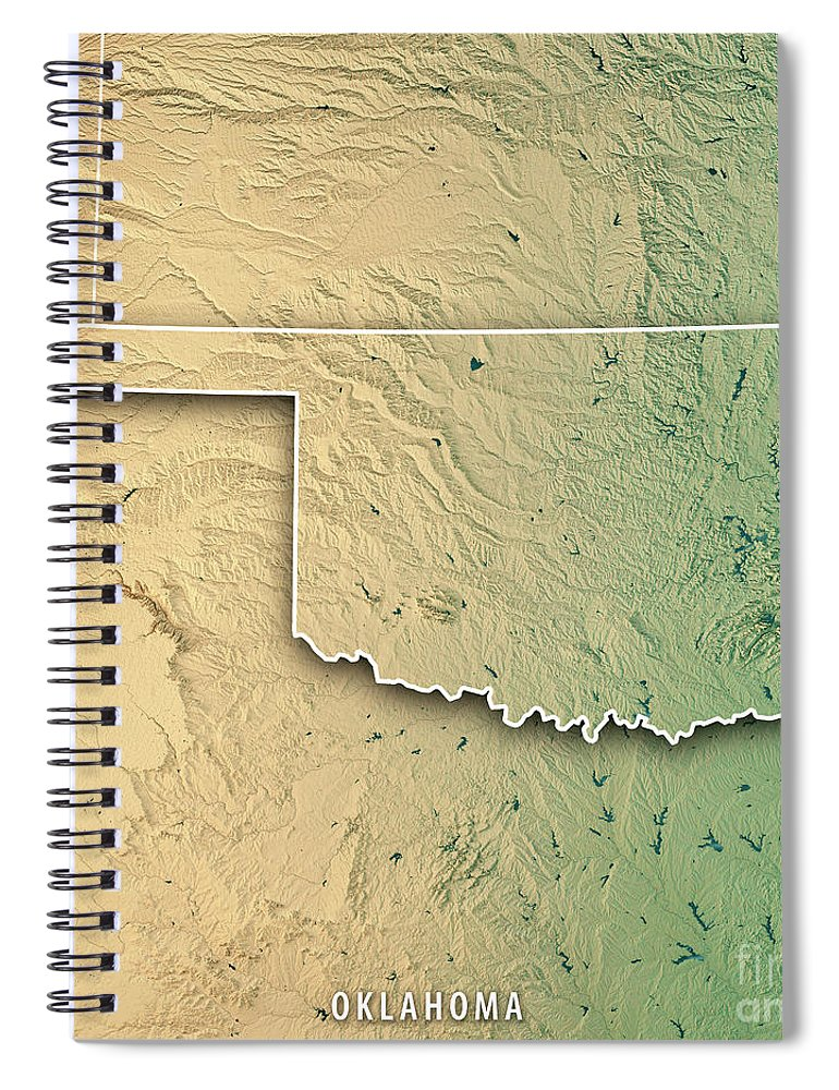 Oklahoma State Usa 3d Render Topographic Map Border Spiral Notebook