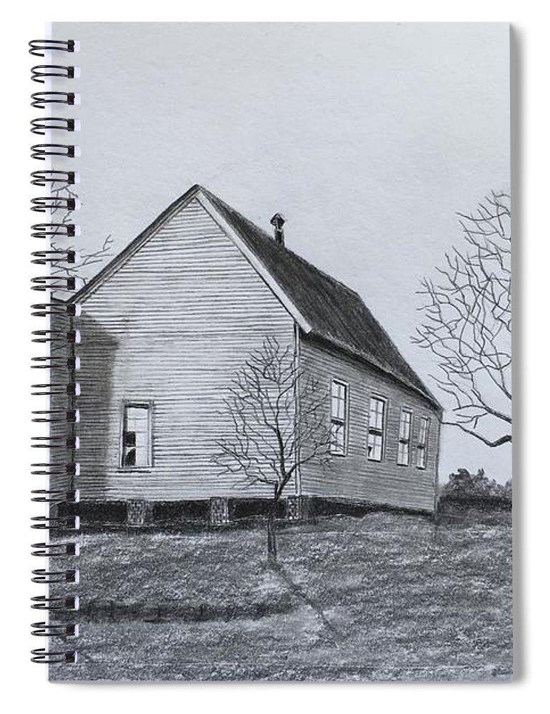 Church Spiral Notebook featuring the drawing Old Church At Beatties Ford by Tony Clark