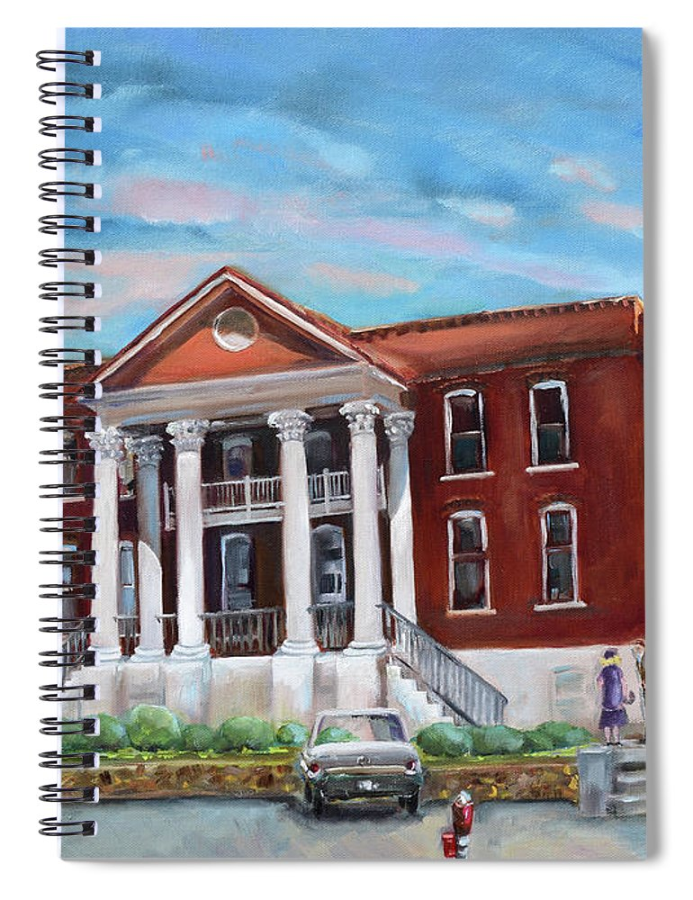 Courthouse Spiral Notebook featuring the painting Old Courthouse In Ellijay Ga - Gilmer County Courthouse by Jan Dappen