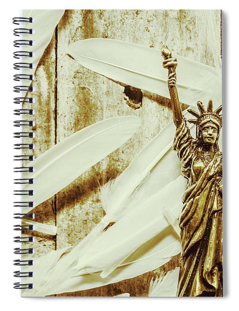 Freedom Spiral Notebook featuring the photograph Old-fashioned Statue Of Liberty Monument by Jorgo Photography - Wall Art Gallery