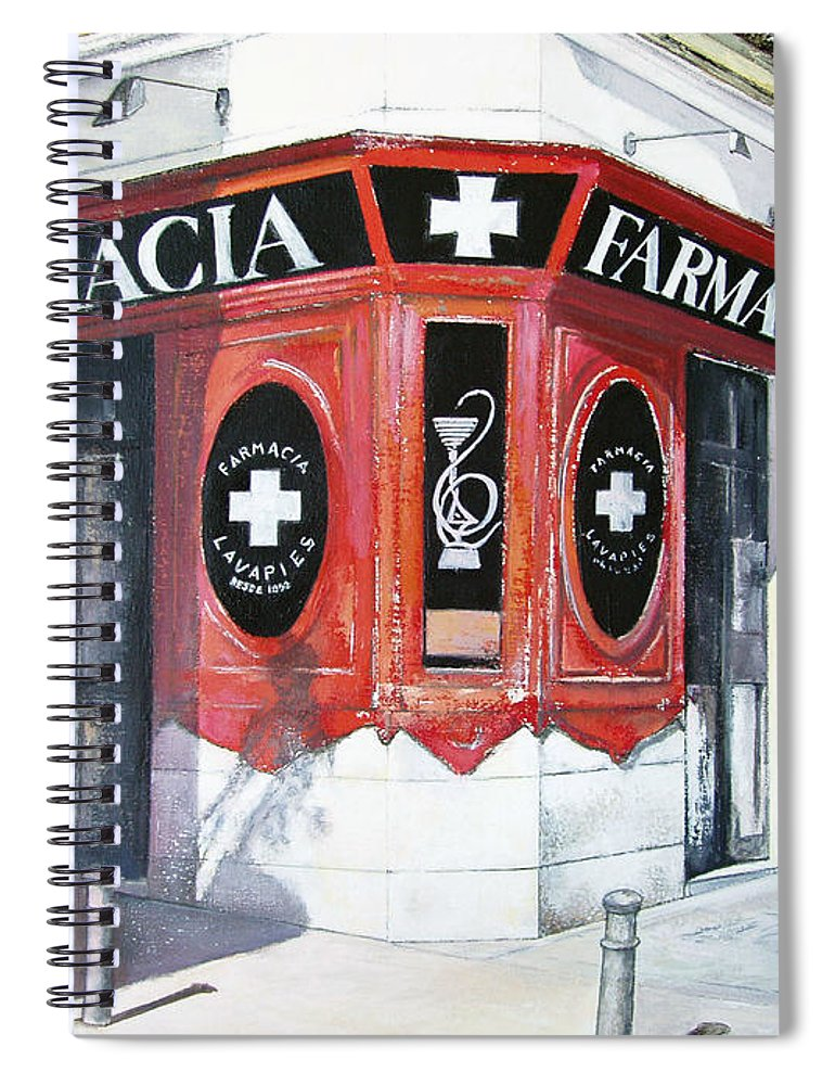 Pharmacy Spiral Notebook featuring the painting Old Pharmacy by Tomas Castano