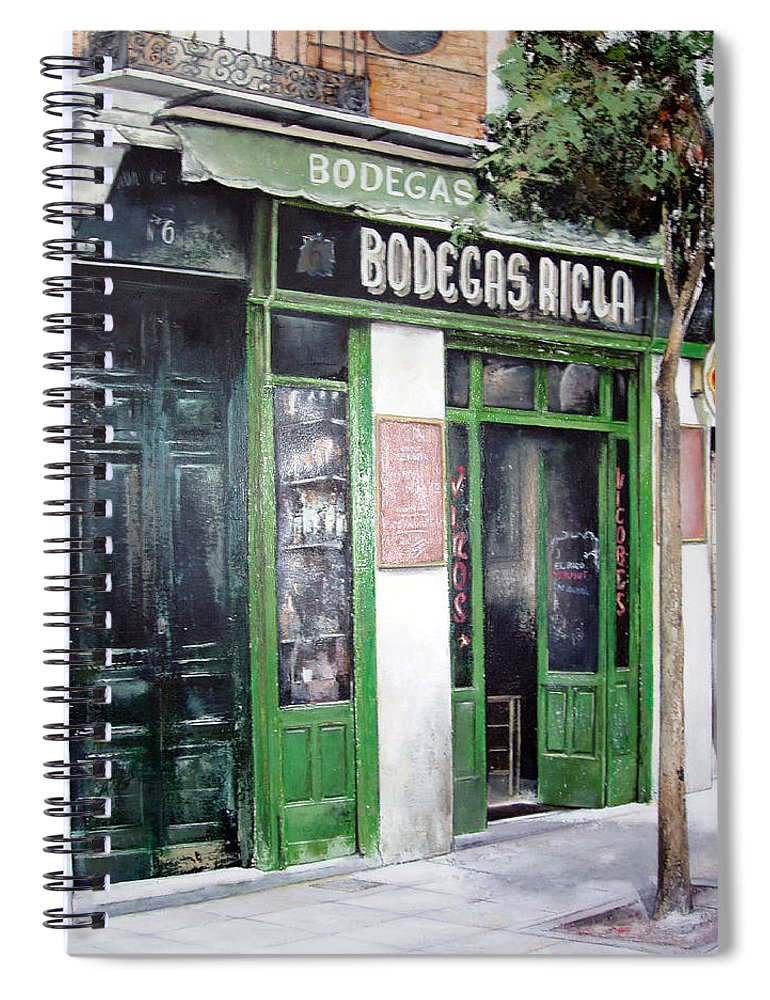 Bodegas Spiral Notebook featuring the painting Old Tavern-Madrid by Tomas Castano