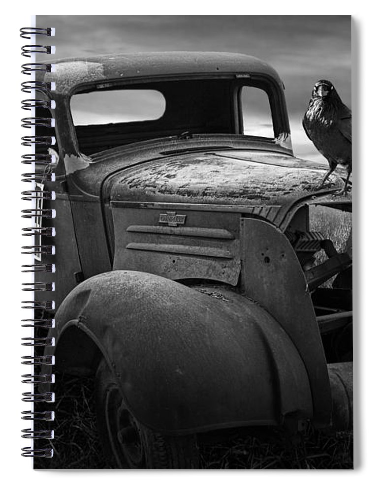 Vintage Spiral Notebook featuring the photograph Old Vintage Chevy Pickup Truck With Ravens by Randall Nyhof
