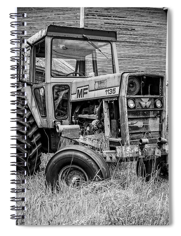 Barn Spiral Notebook featuring the photograph Old Vintage Tractor on a farm in New Hampshire Square by Edward Fielding