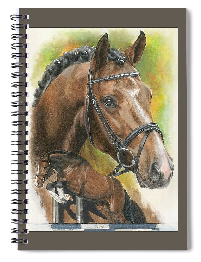 Hunter Jumper Spiral Notebook featuring the mixed media Oldenberg by Barbara Keith
