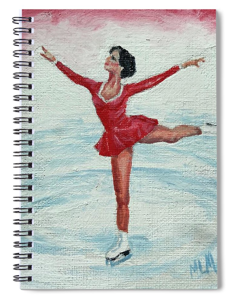 Red Spiral Notebook featuring the painting Olympic Figure Skater by ML McCormick