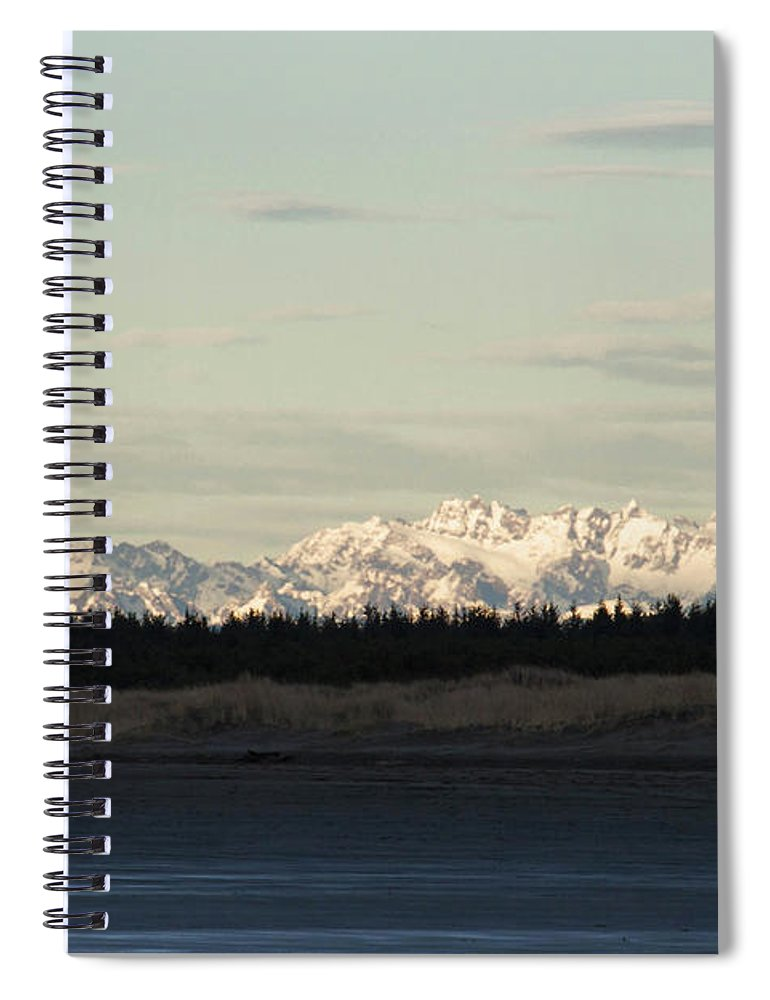 Olympic Mountains Spiral Notebook featuring the photograph Olympic Mountains by Cheryl Day
