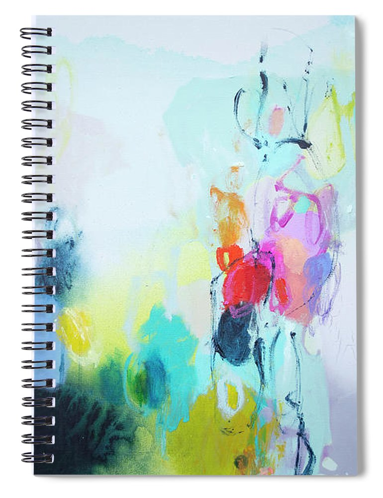 Abstract Spiral Notebook featuring the painting On A Road Less Travelled by Claire Desjardins