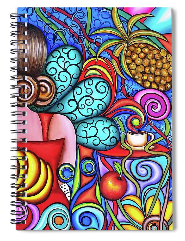 Cuba Spiral Notebook featuring the painting On My Mind by Annie Maxwell