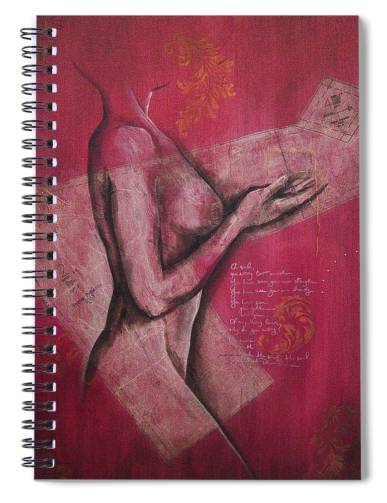 Figure Spiral Notebook featuring the painting On My Sleeve by Rowena Finn